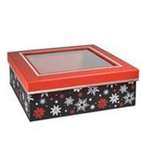 Maker\u0027s Holiday Small Square Box with Window-Chalked Up