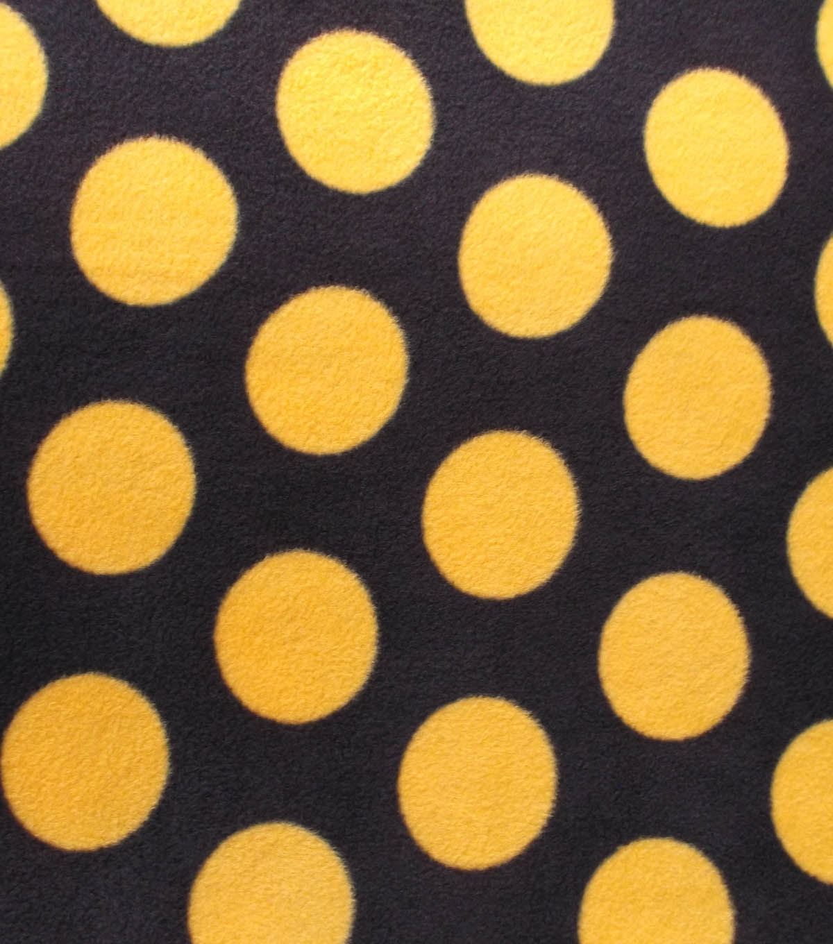 Anti-Pill Fleece Fabric- Black And Gold Dots