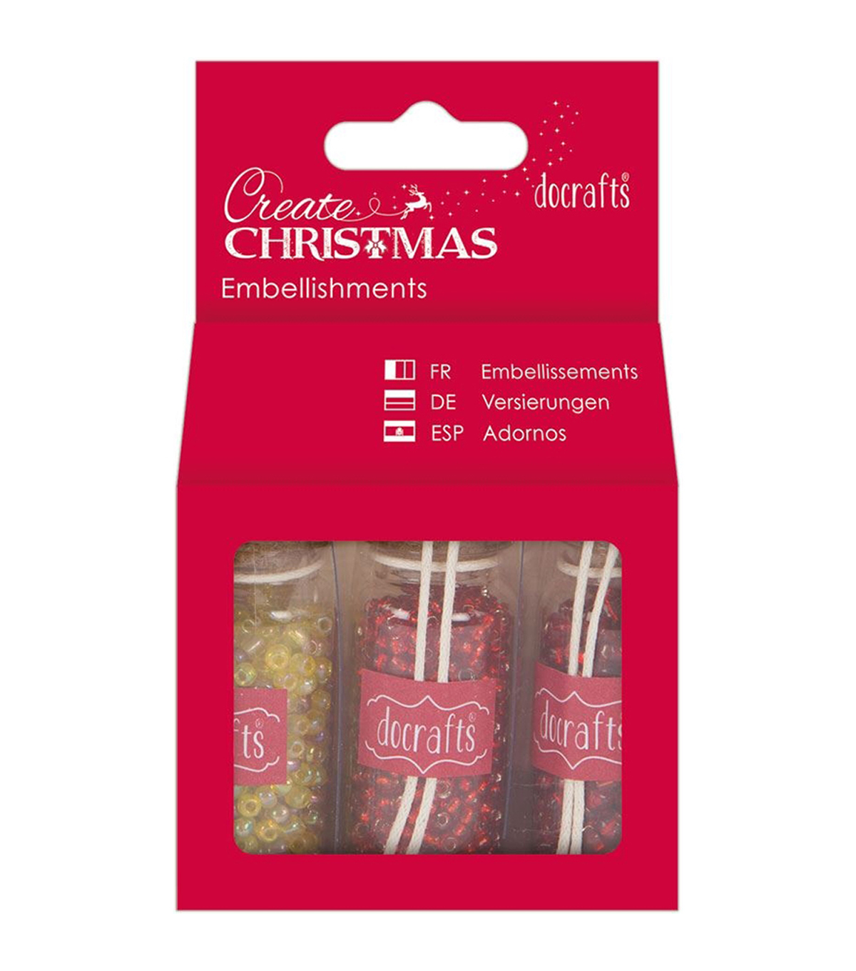 Papermania Create Christmas Embellishments 3 Bottles-Red Beads