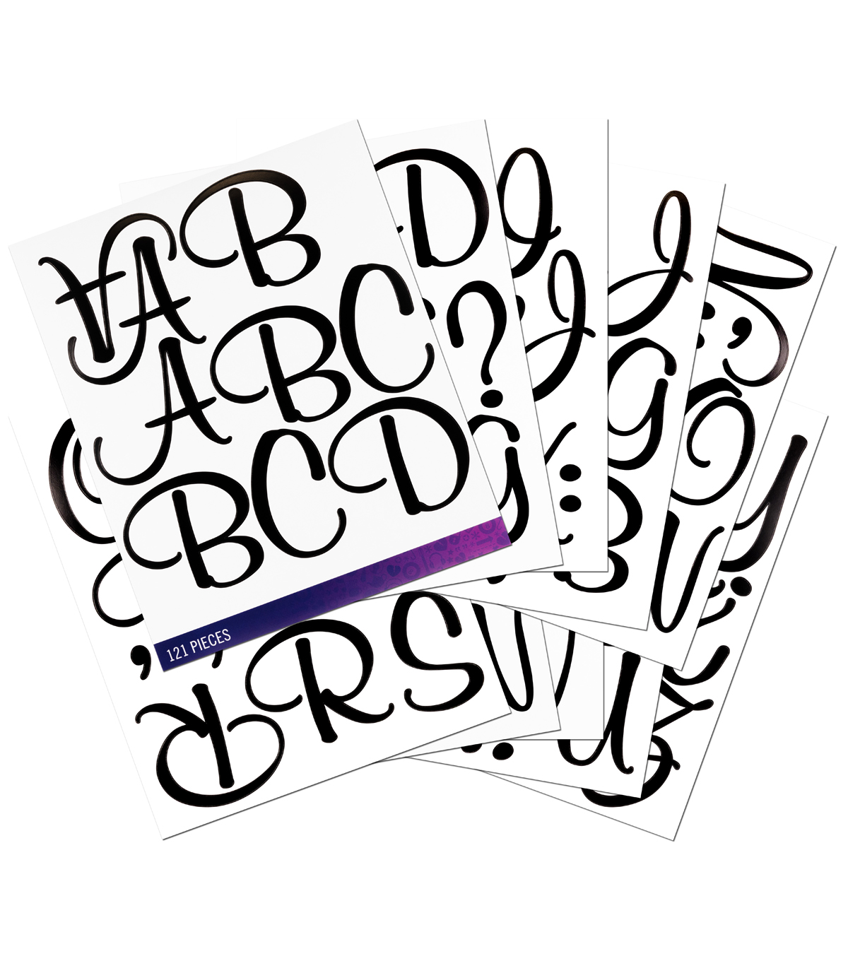 Sticko® 121 Pack Script X-Large Alphabet Stickers-Black