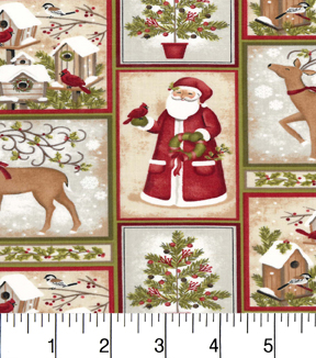 Maker'S Holiday Cotton Fabric-Santa And Snowmen In Blocks