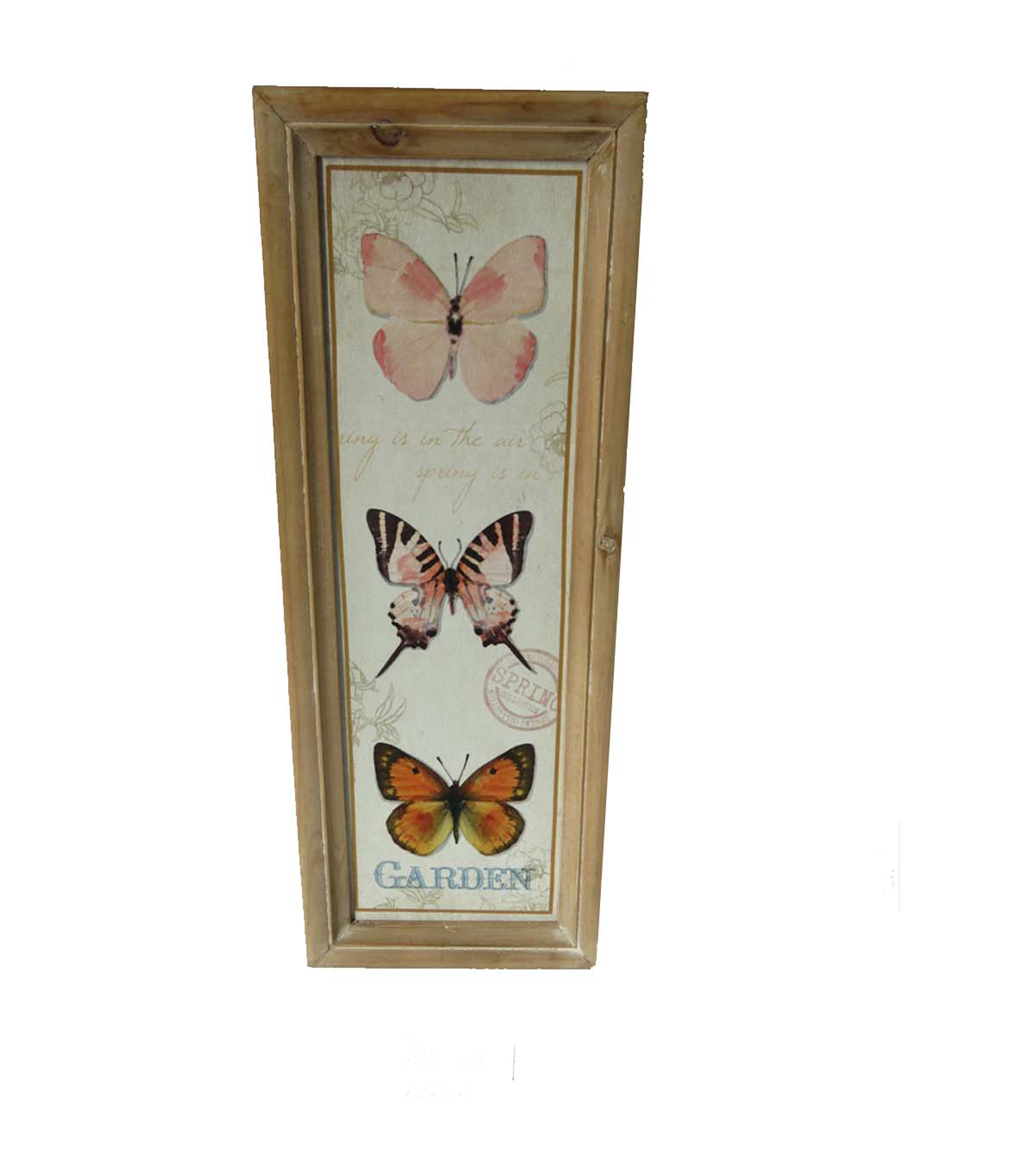 Wild Blooms Wood Wall Decor-Pink Butterfly