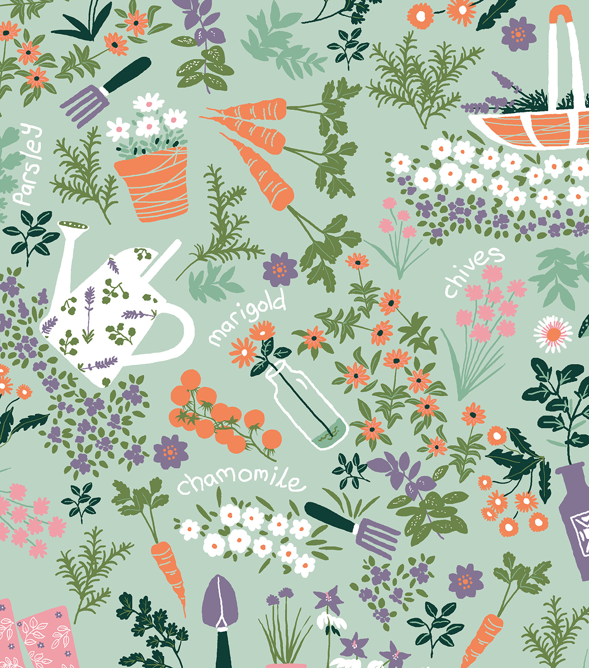 Snuggle Flannel Print Fabric 42\u0022-Garden Party Mint