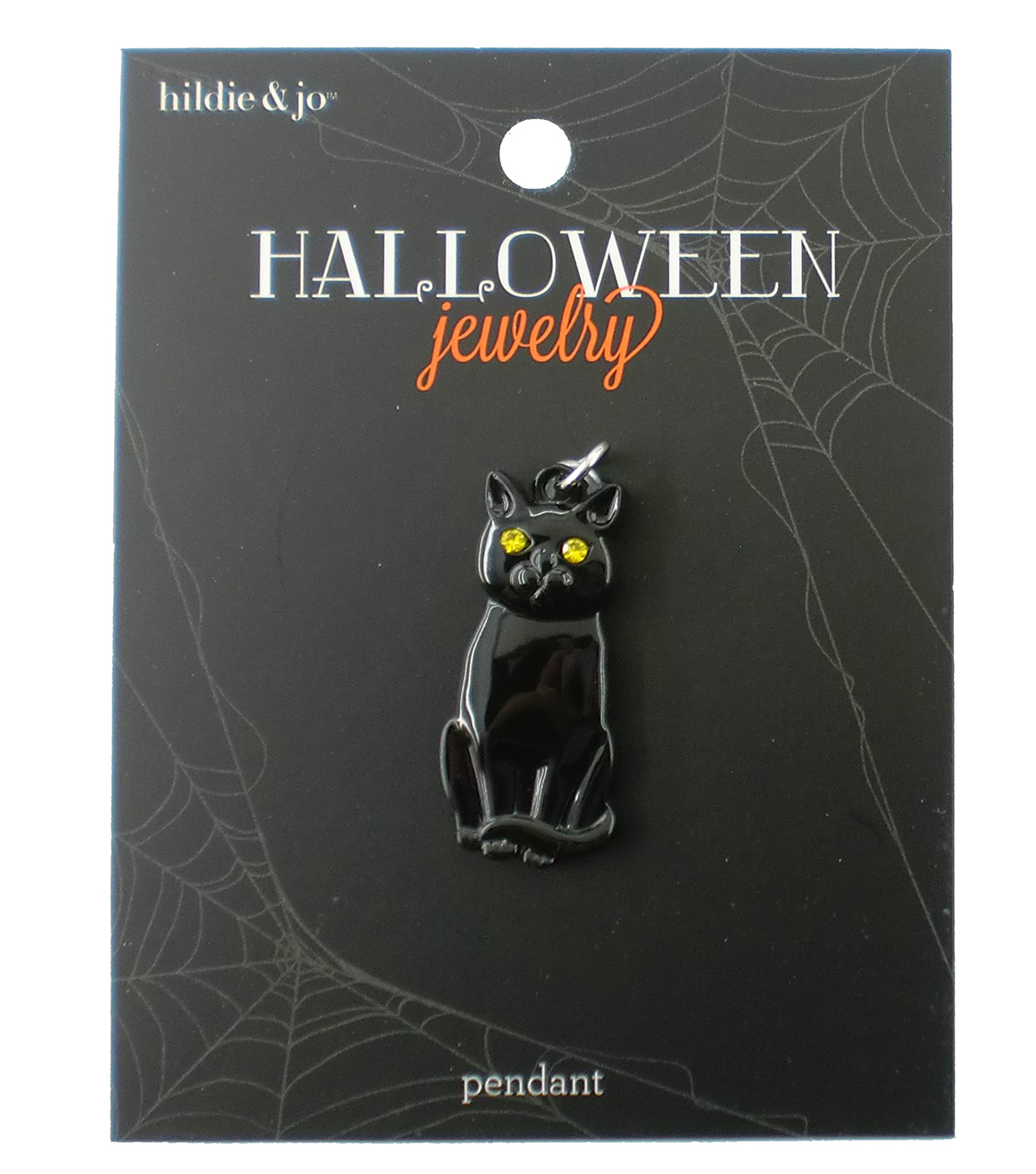 hildie & jo™ Halloween Cat Pendant-Black with Gold Eyes