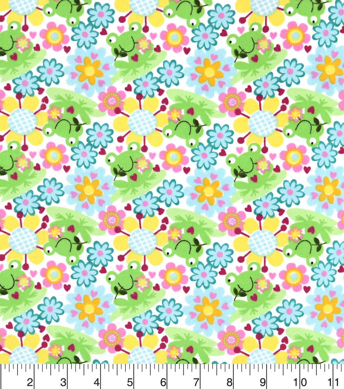 Snuggle Flannel Fabric 42\u0027\u0027-Happy Froggie & Floral