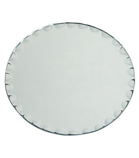 8\u0022 Round Glass Mirror W/Scallop Edge