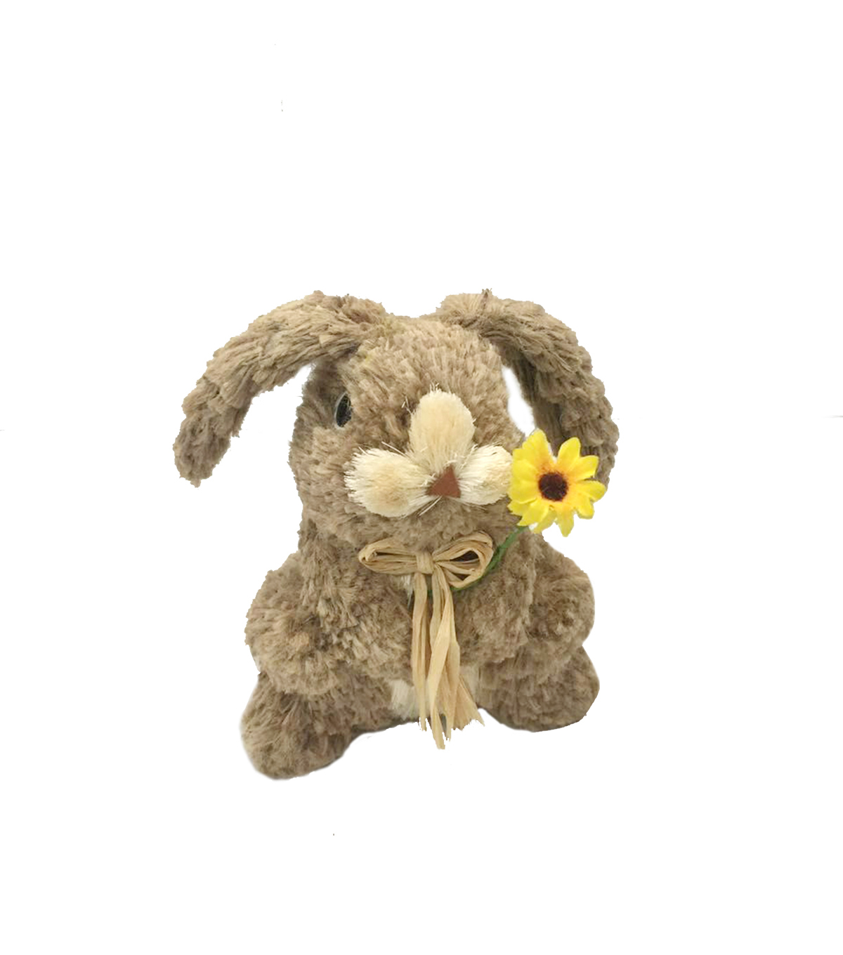 Blooming Spring Easter Small Bunny With Floppy Ears & Daisy