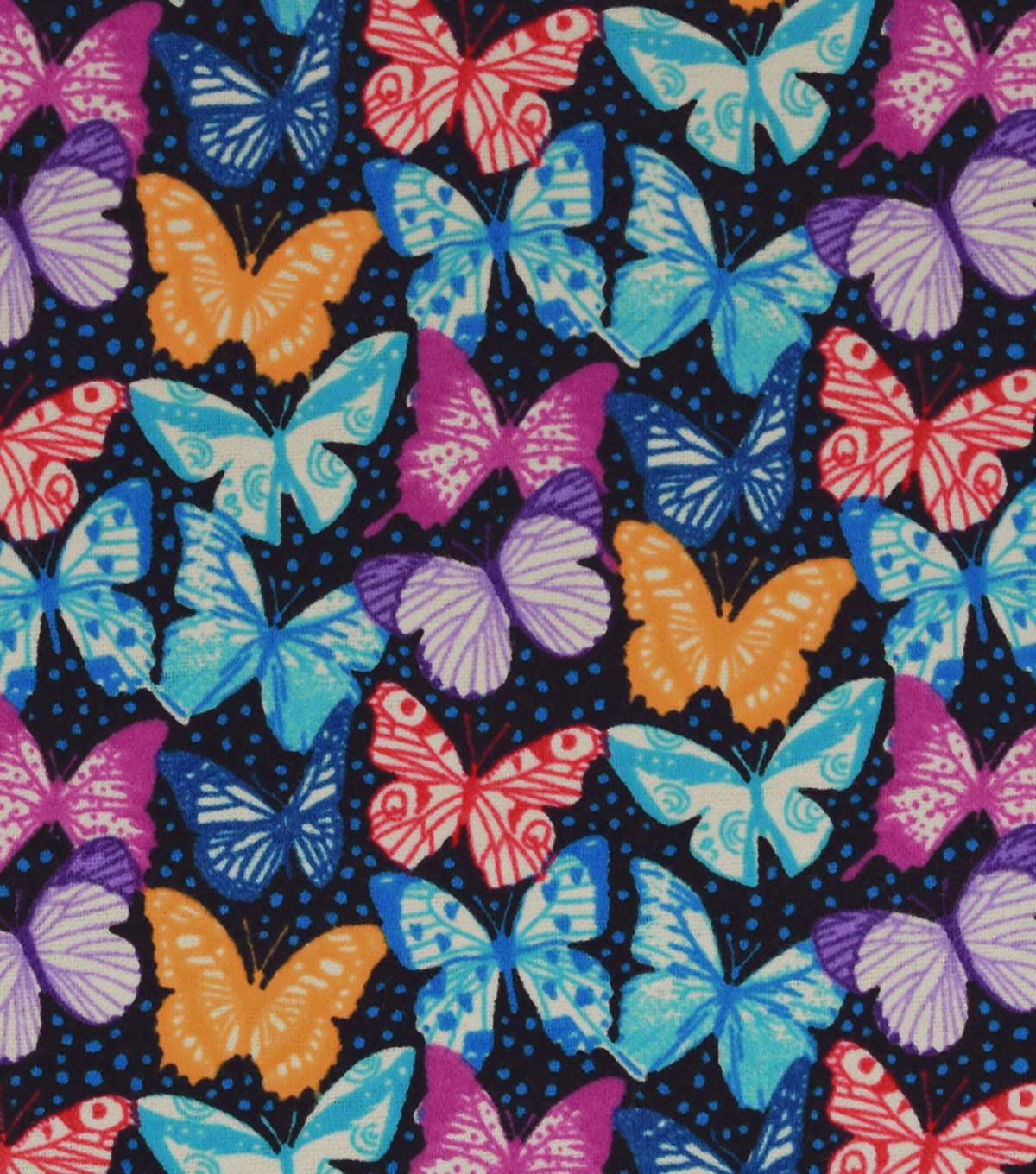 Snuggle Flannel Fabric 42\u0022-Bright Realistic Butterflies