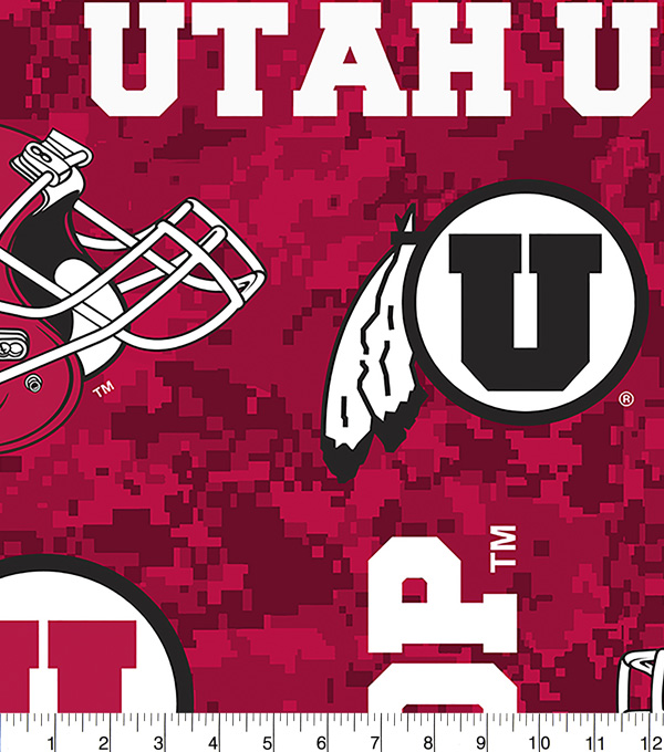 University of Utah Utes Fleece Fabric 60\u0022-Digital Camo