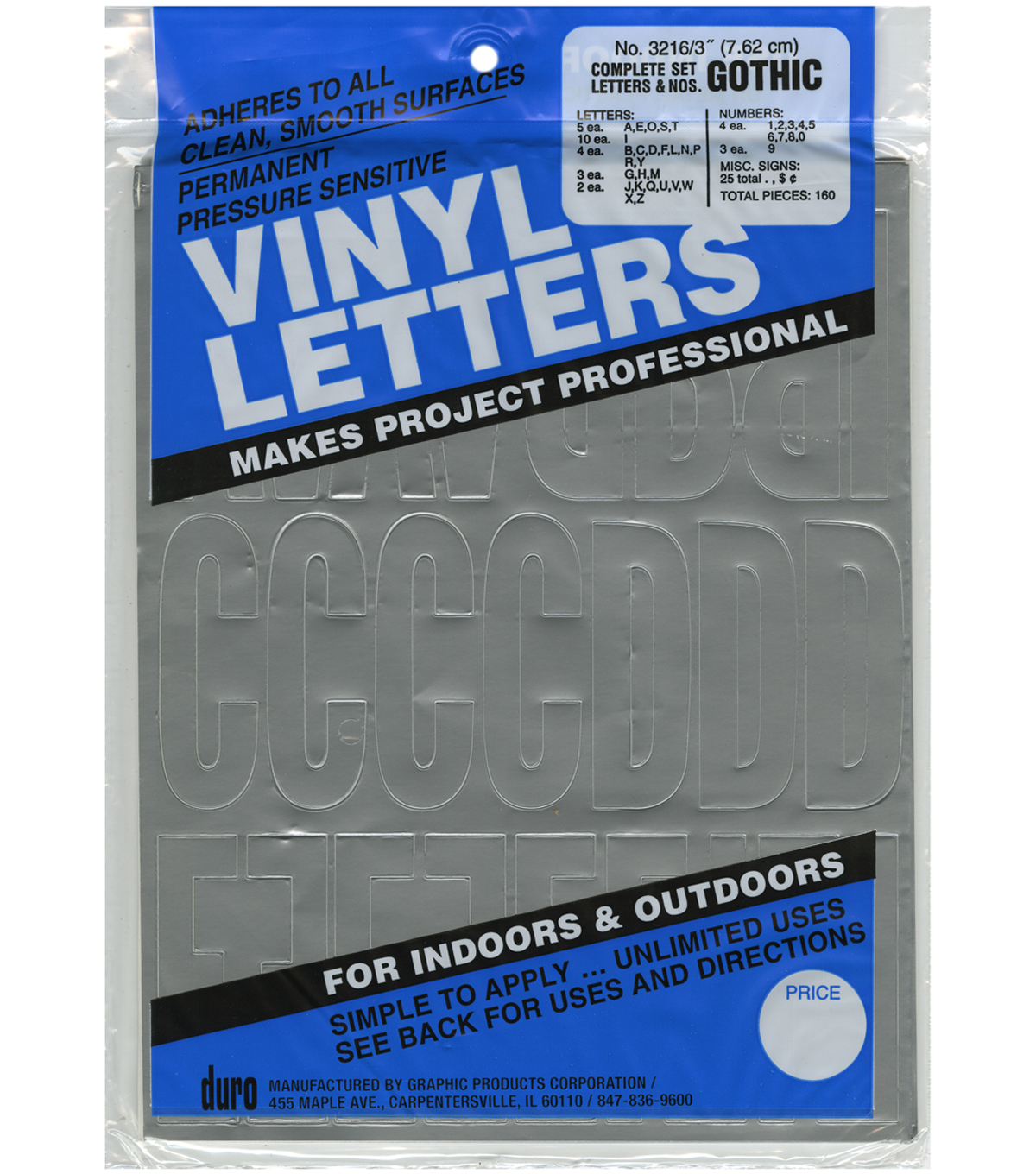 Duro 160ct 3'' Permanent Adhesive Vinyl Letters & Numbers-Silver