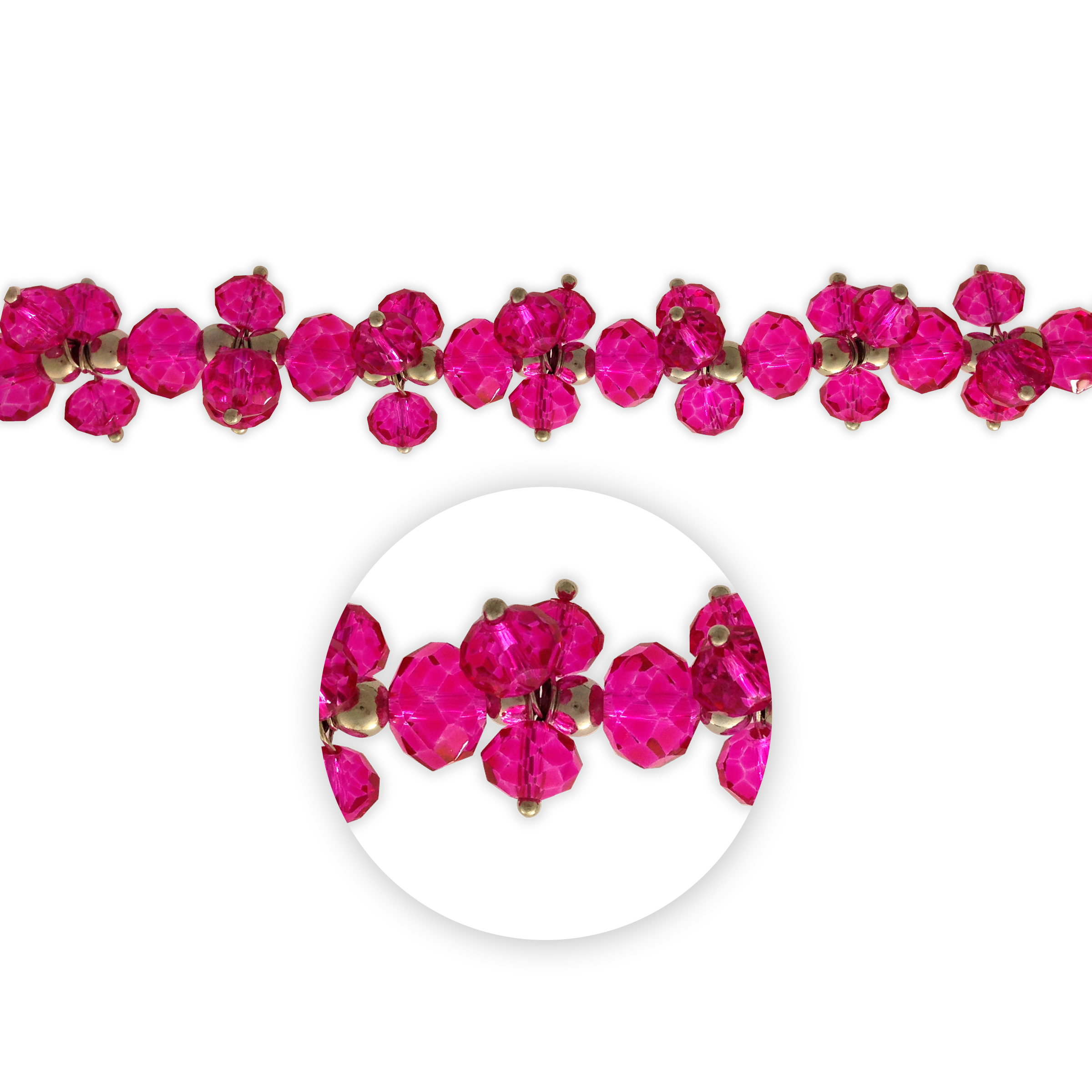 Blue Moon Beads 7\u0022 Crystal Strand, Dangles, Fuchsia
