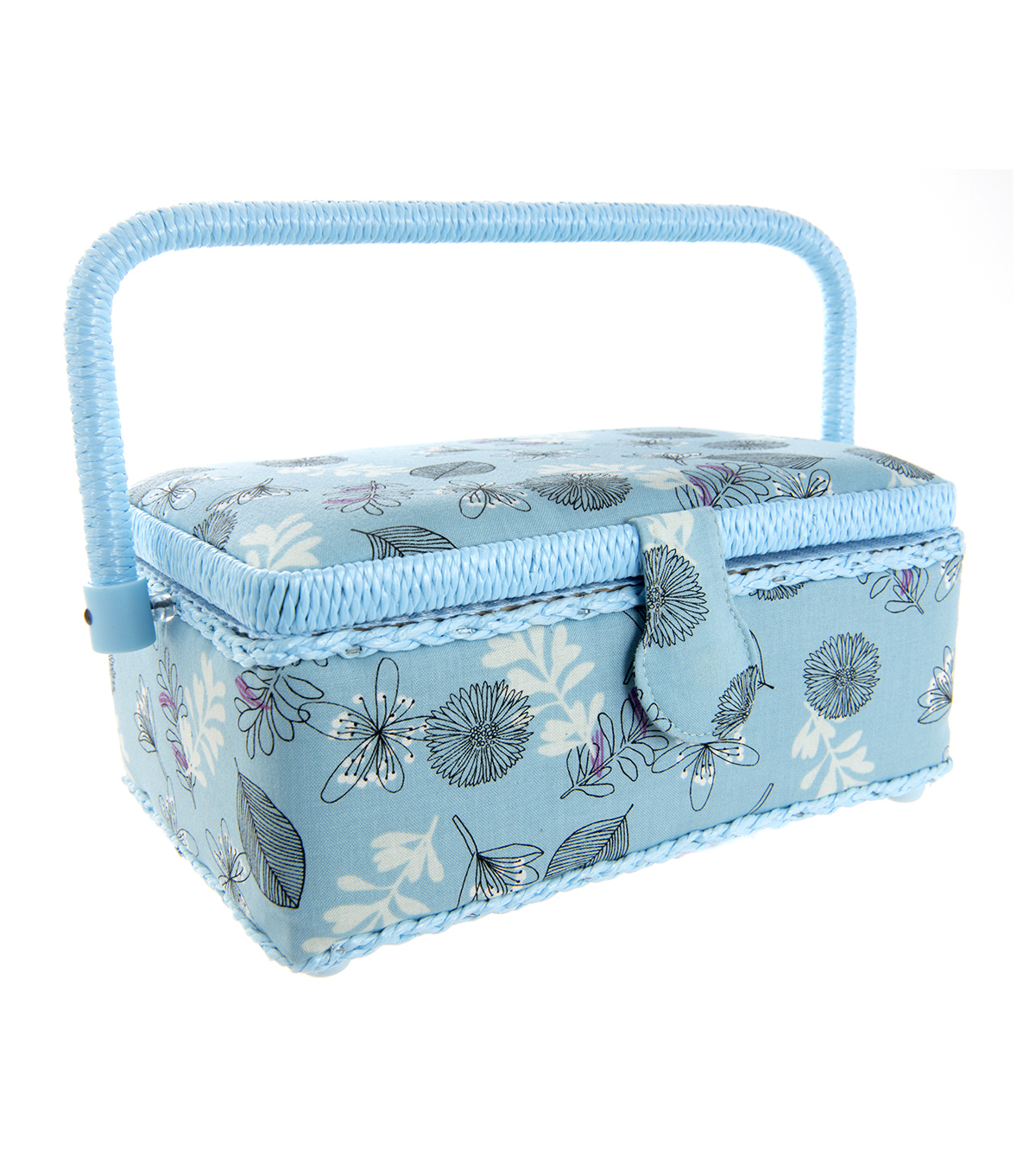 Small Rectangle Sewing Basket-Blue Leaf & Floral