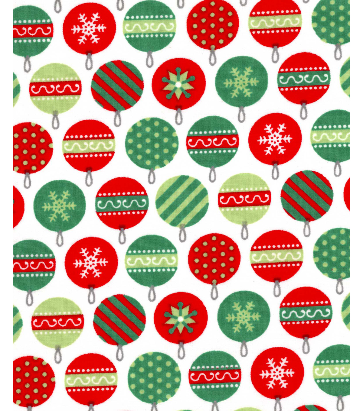 Holiday Showcase™ Christmas Cotton Fabric 43''-Packed Ornaments on White
