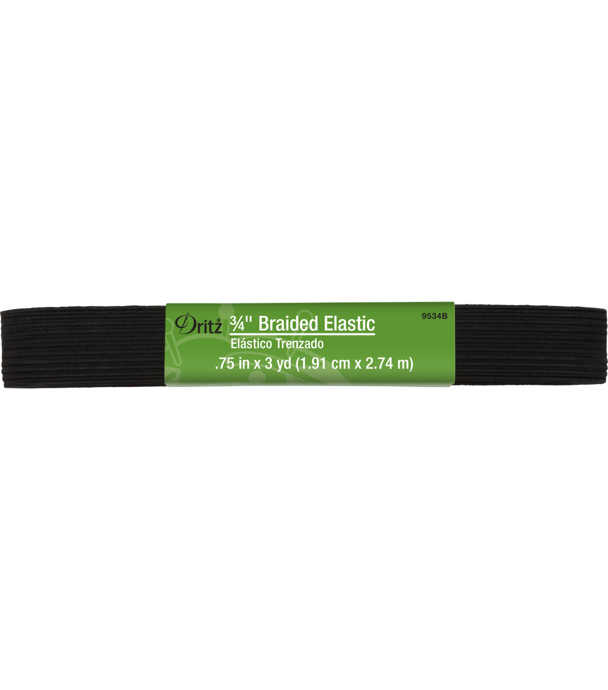 "Dritz 3/4"" Braided Elastic Hank Black 3 Yd"