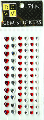 DCWV Heart Gem Stickers-Red and white assortment