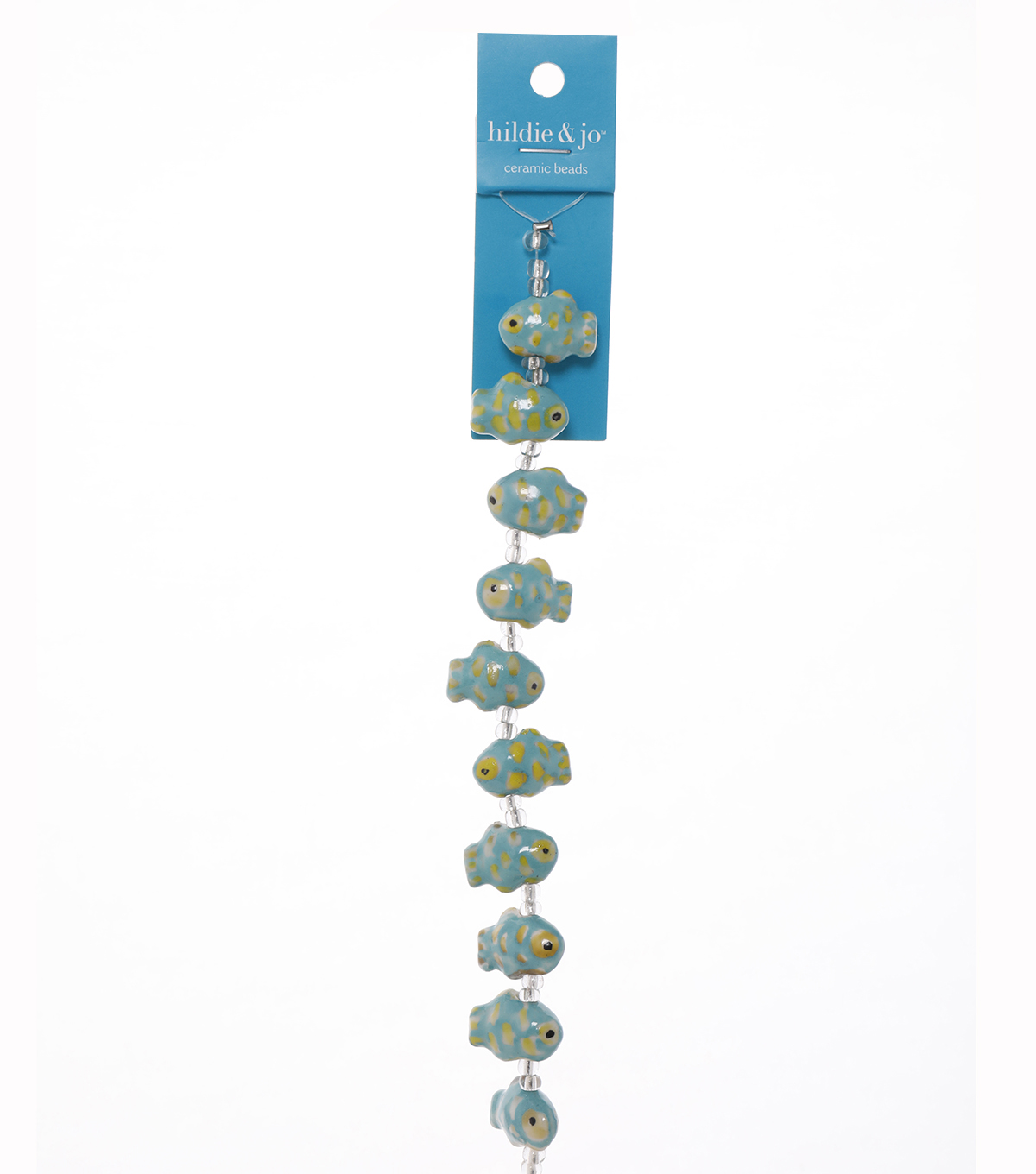 "Blue Moon Beads 7"" Strand, Ceramic Blue-Green Fish"