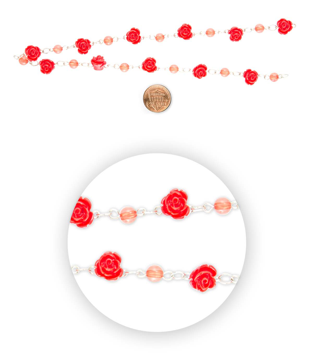 Blue Moon Bead Strands Plastic Connector Rose Red