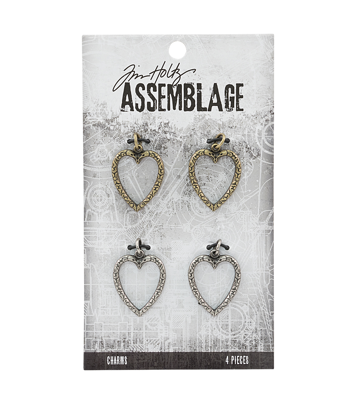Tim Holtz® Assemblage 4 Pack 0.75'' Heart Link Charms