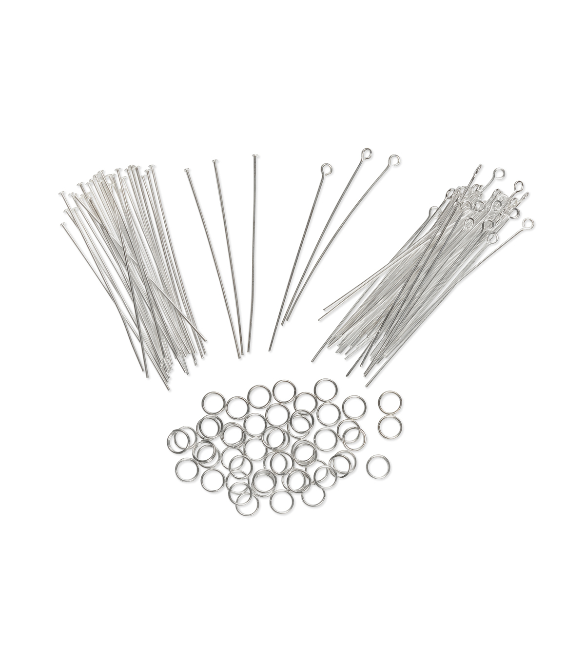 Jewelry Finding Assortment Eye pin/Headpin/Jump Ring, Br. Silver, 122pc.