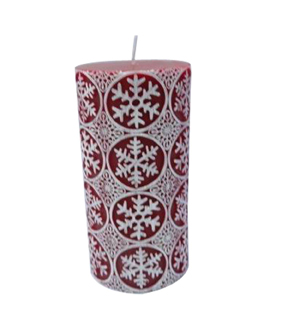 Maker's Holiday 3''x6'' Pillar Candle-Red Snowflake