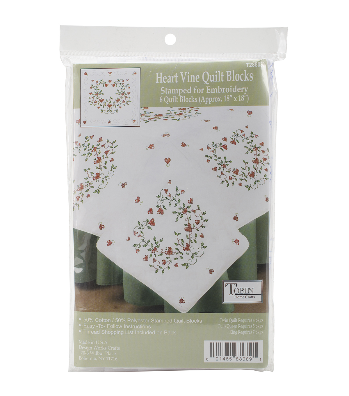 Tobin Heart Vine Stamped White Quilt Blocks 18\u0027\u0027x18\u0027\u0027
