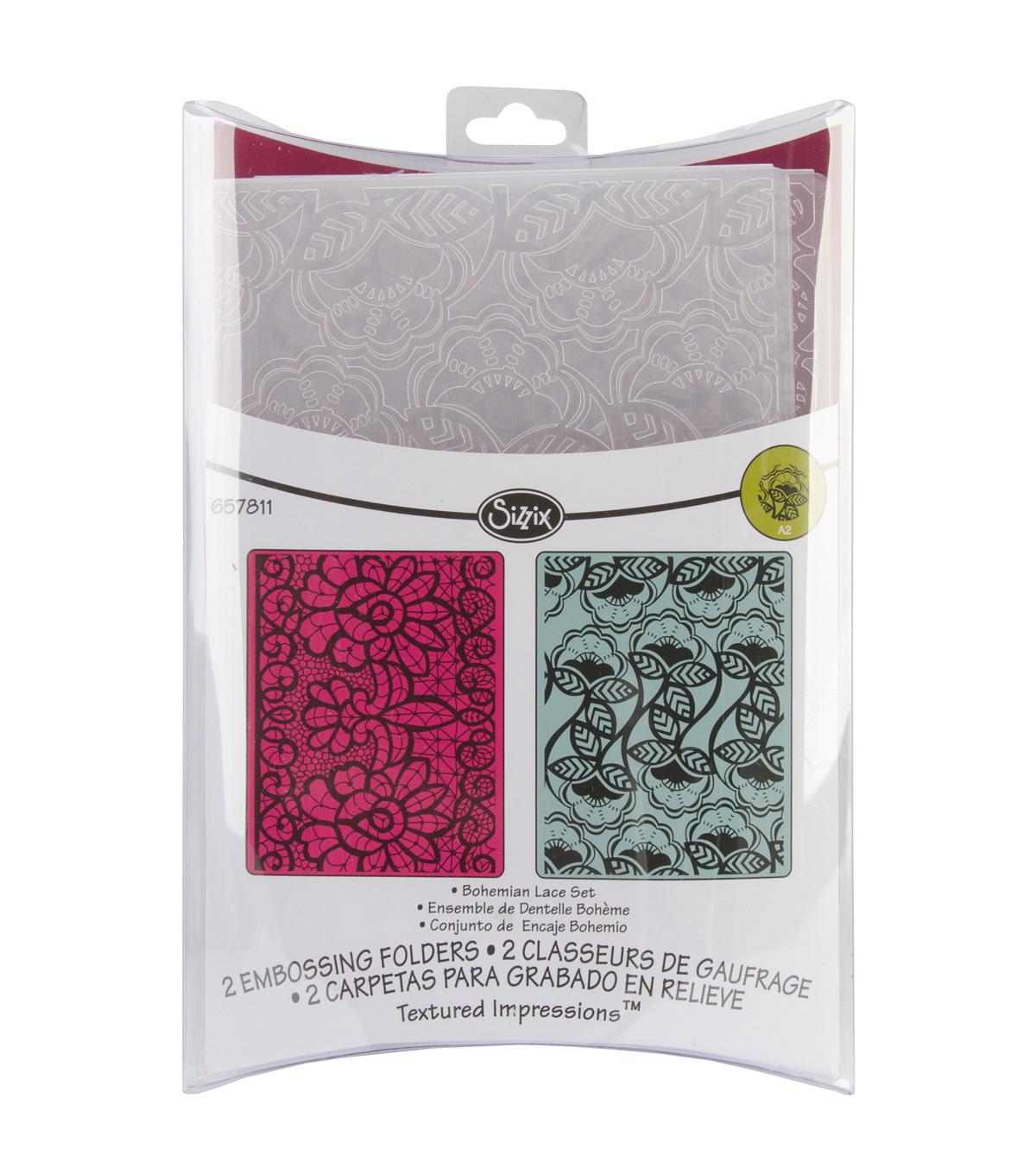 Sizzix™ Textured Impressions 2 Pack Embossing Folders-Bohemian Lace