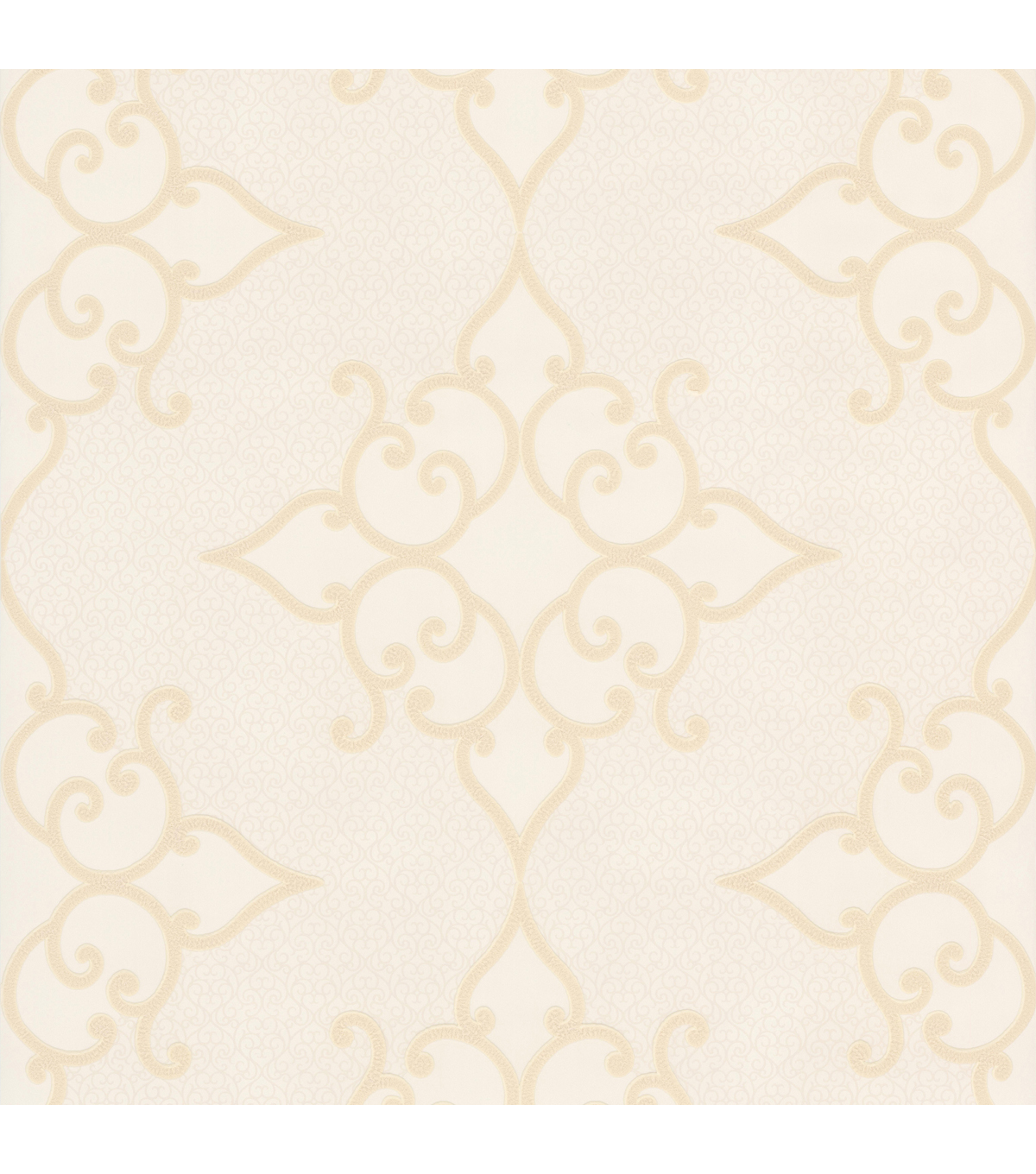 Sebastian Cream Crepe Moroccan Medallion Wallpaper Sample