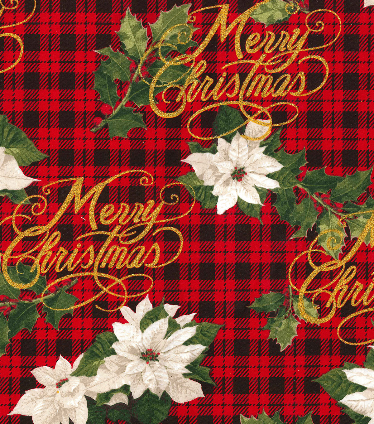 Christmas Cotton Fabric 44\u0022-Merry Christmas Plaid