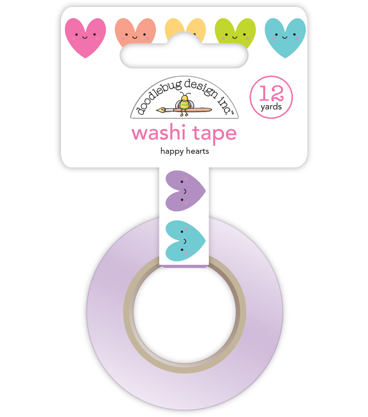 Doodlebug Design Inc. Fairy Tales Washi Tape 1\u0027\u0027x12 yds-Happy Hearts