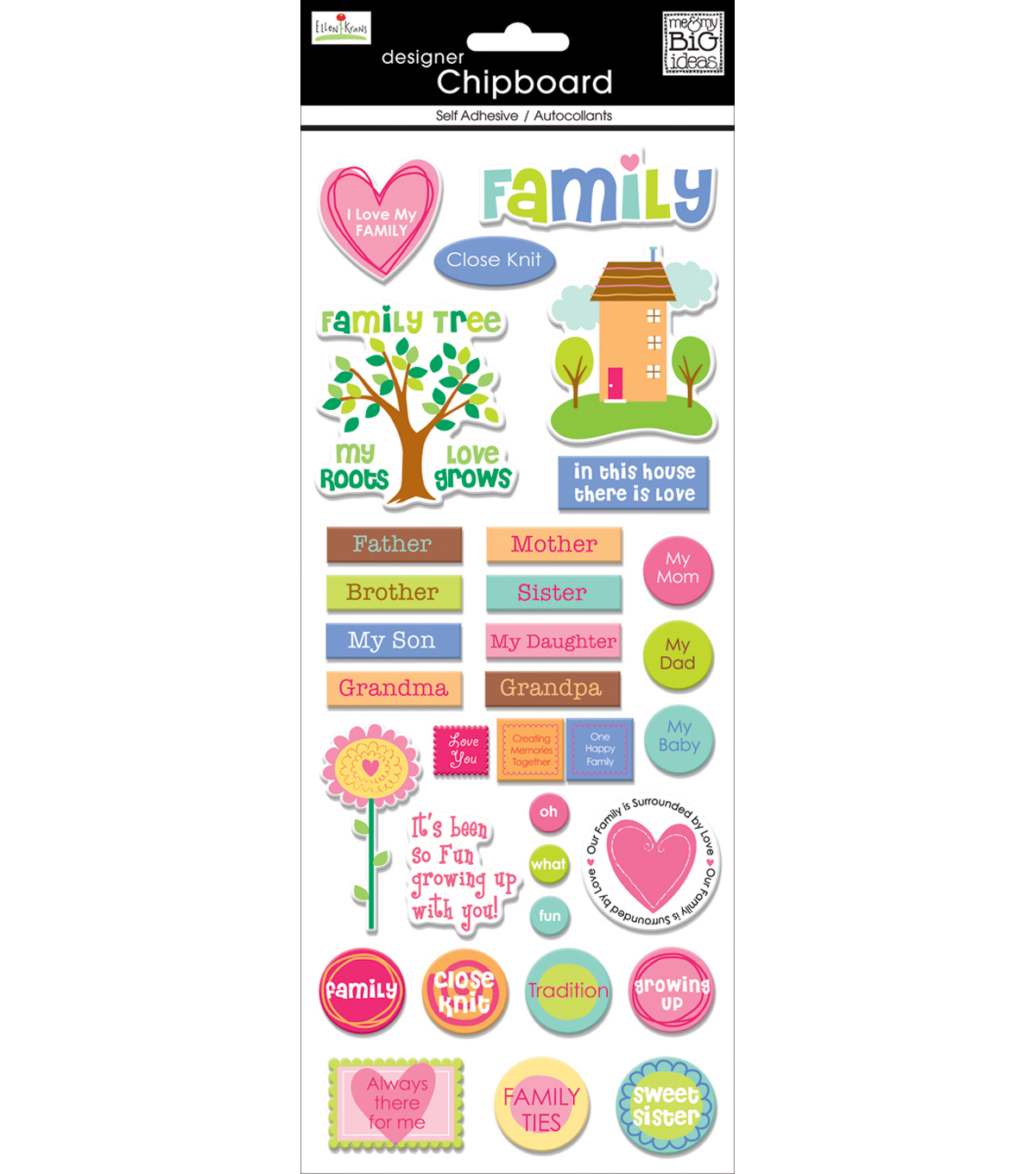 Me & My Big Ideas-Ellen Family Chipboard Sticker