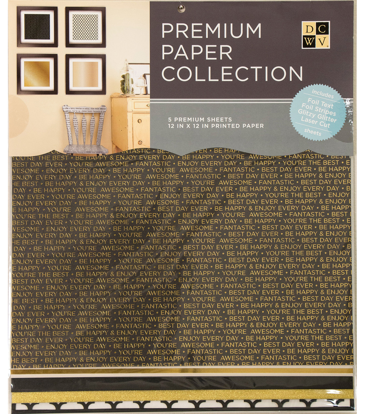 DCWV 12\u0022x12\u0022 set of 5 Premium Papers-Black and Gold Assortment