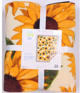 No Sew Fleece Throw 72\u0022-Sunflowers