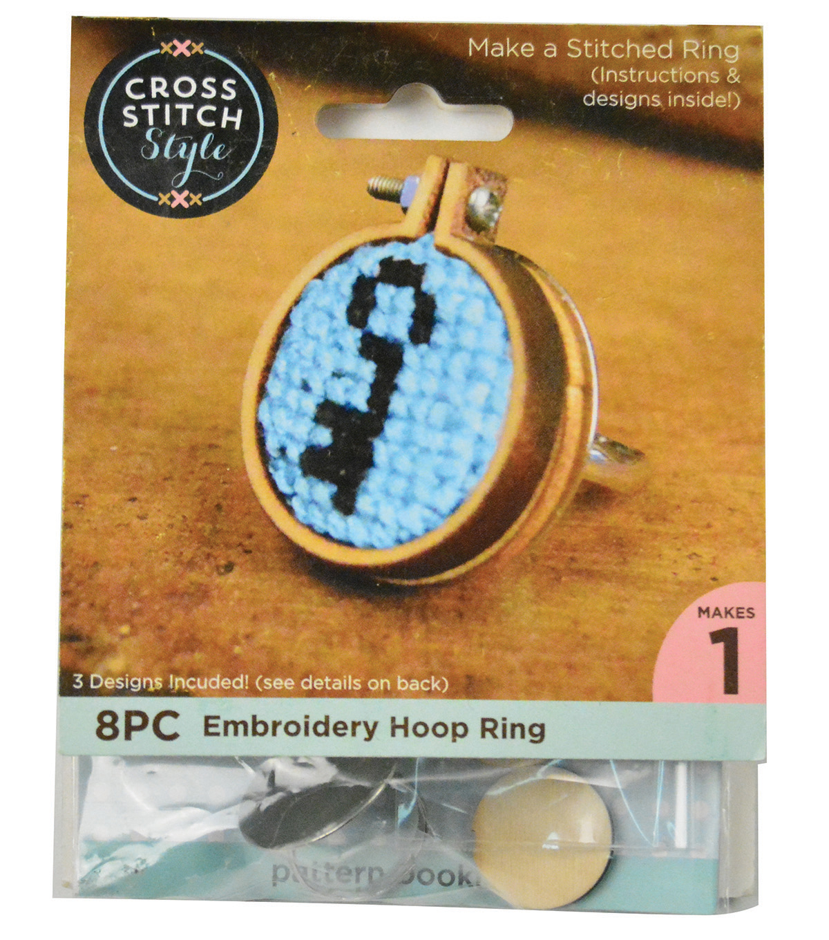 Cross Stitch Style Mini Embroidery Hoop Ring