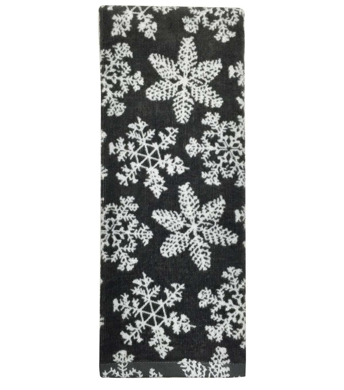 Maker's Holiday Terry Towel-Gray Snowflakes