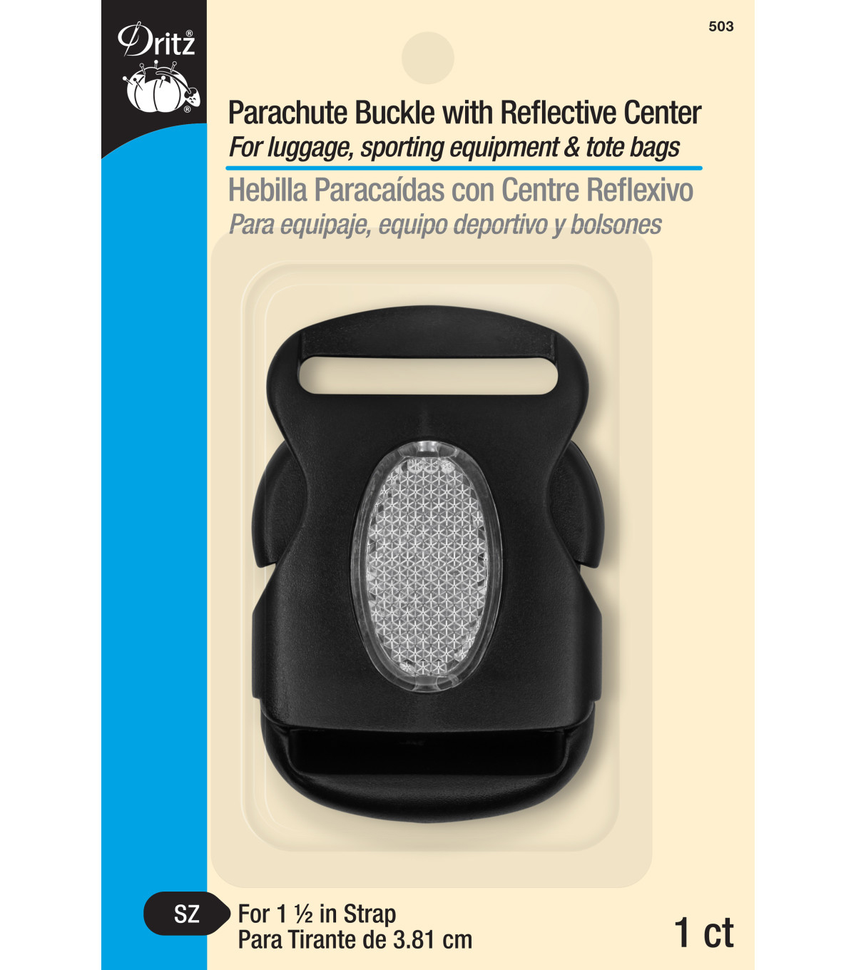 Dritz Parachute Buckle With Reflective Center Black
