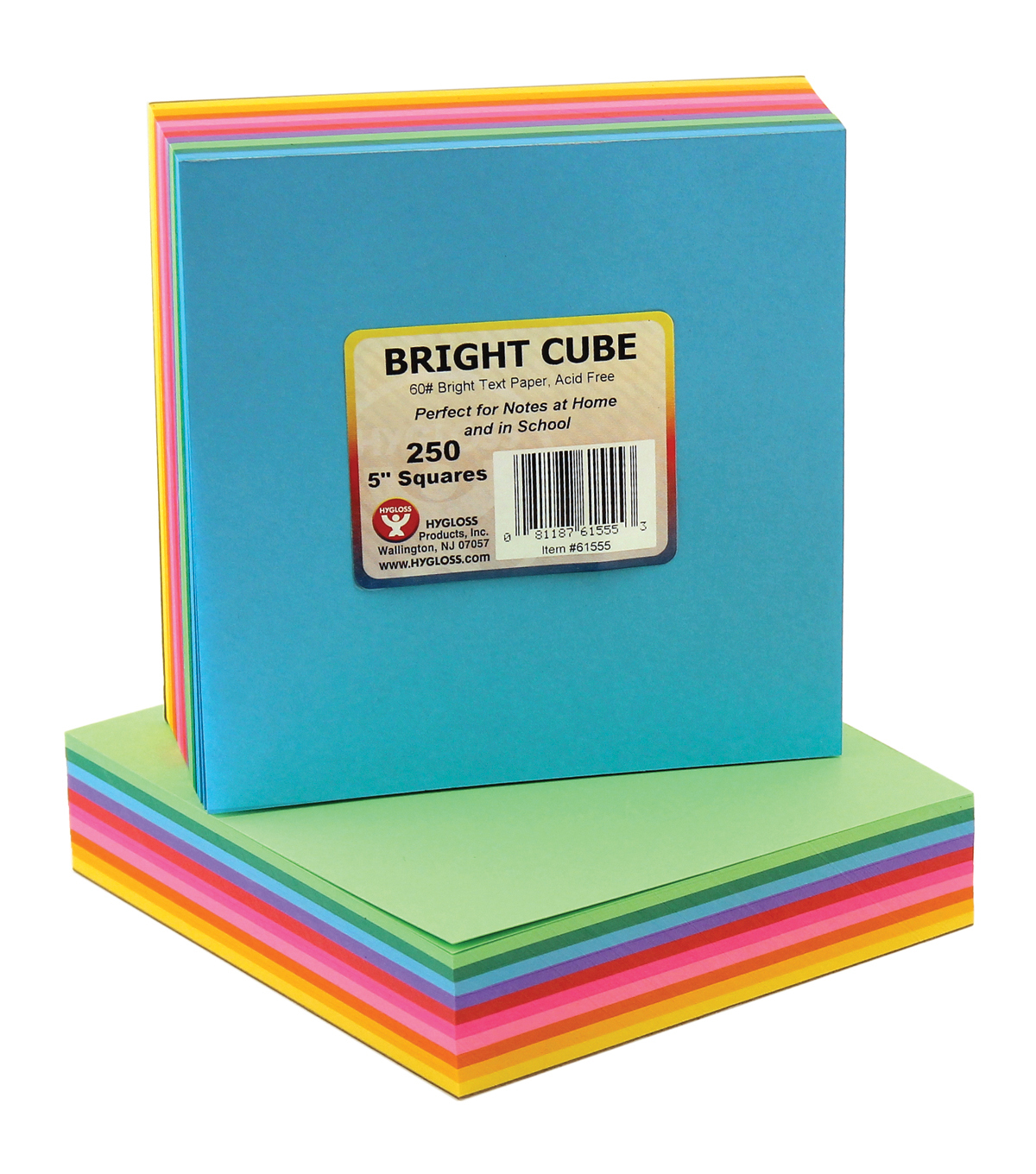 Mighty Bright Cube Paper Pad 5\u0022X5\u0022 250 Sheets/Cube-25 Sheets Each Of 10 Assorted Colors