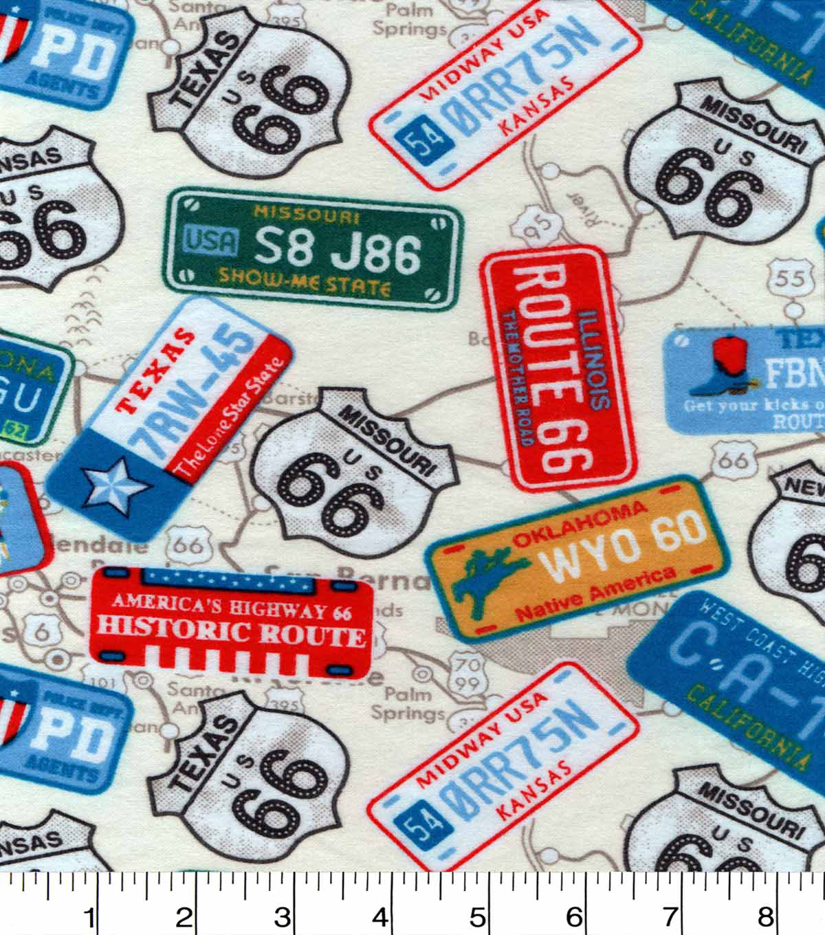 Snuggle Flannel Fabric 42\u0022-State License Plates