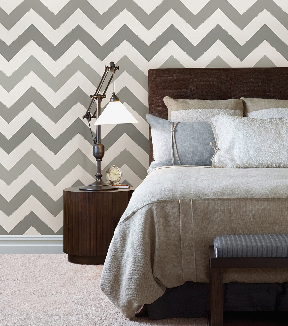 WallPops NuWallpaper Peel & Stick Wallpaper-Gray Zig Zag