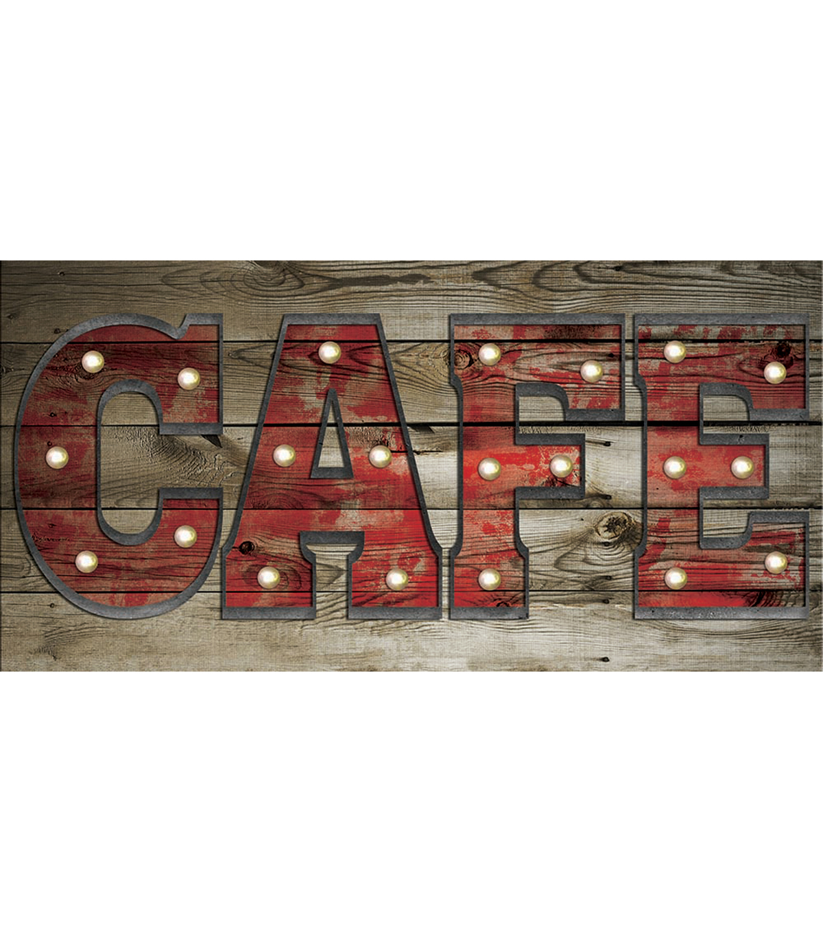 24X12 CAFÉ Wood & Metal Wall Decor With Lights
