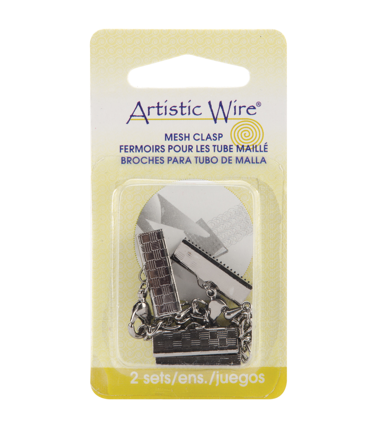Artistic Wire Mesh Clasps 18mm 2 Sets/Pkg-Hematite