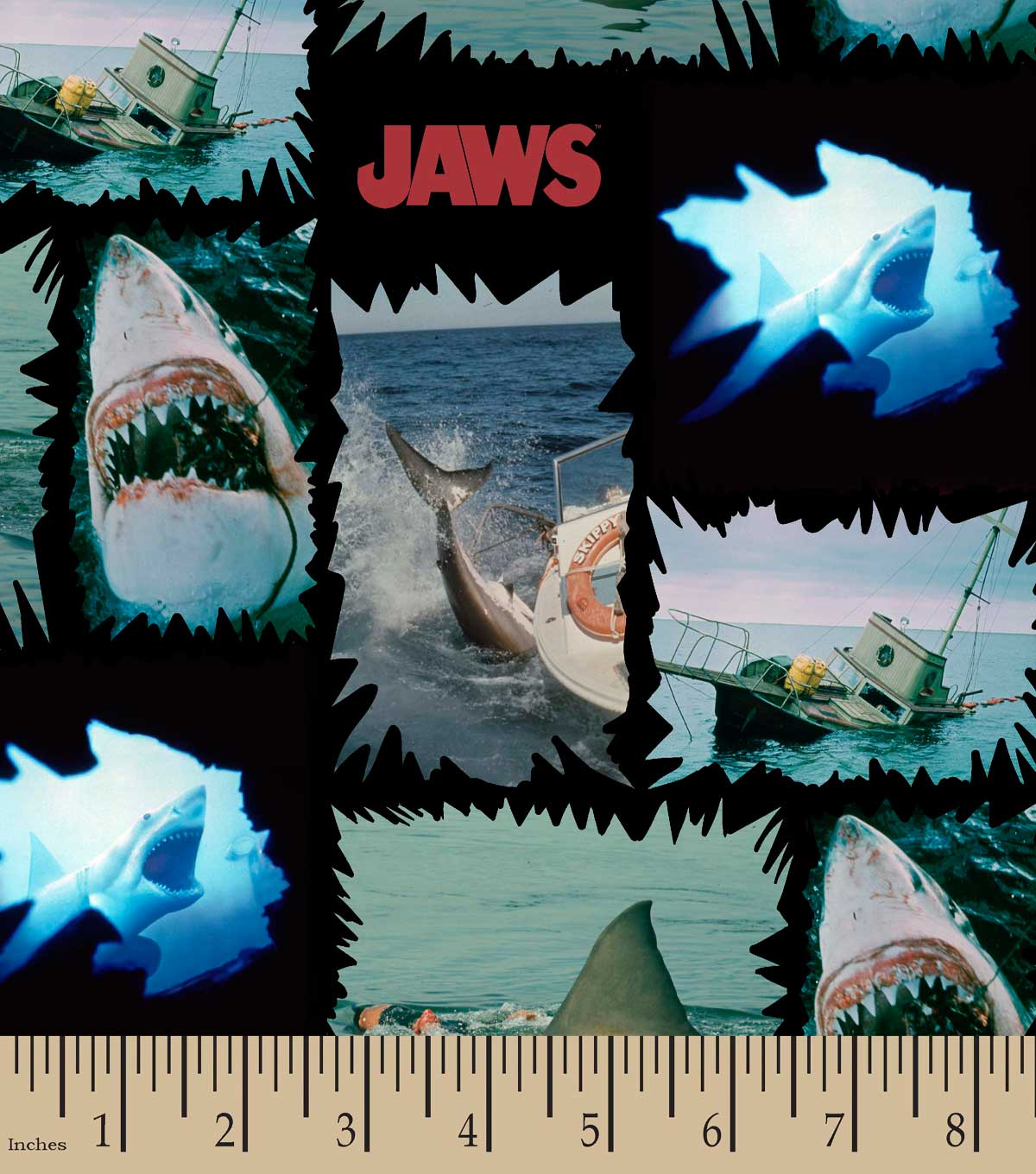 Jaws® Shark Torn Patches Print Fabric