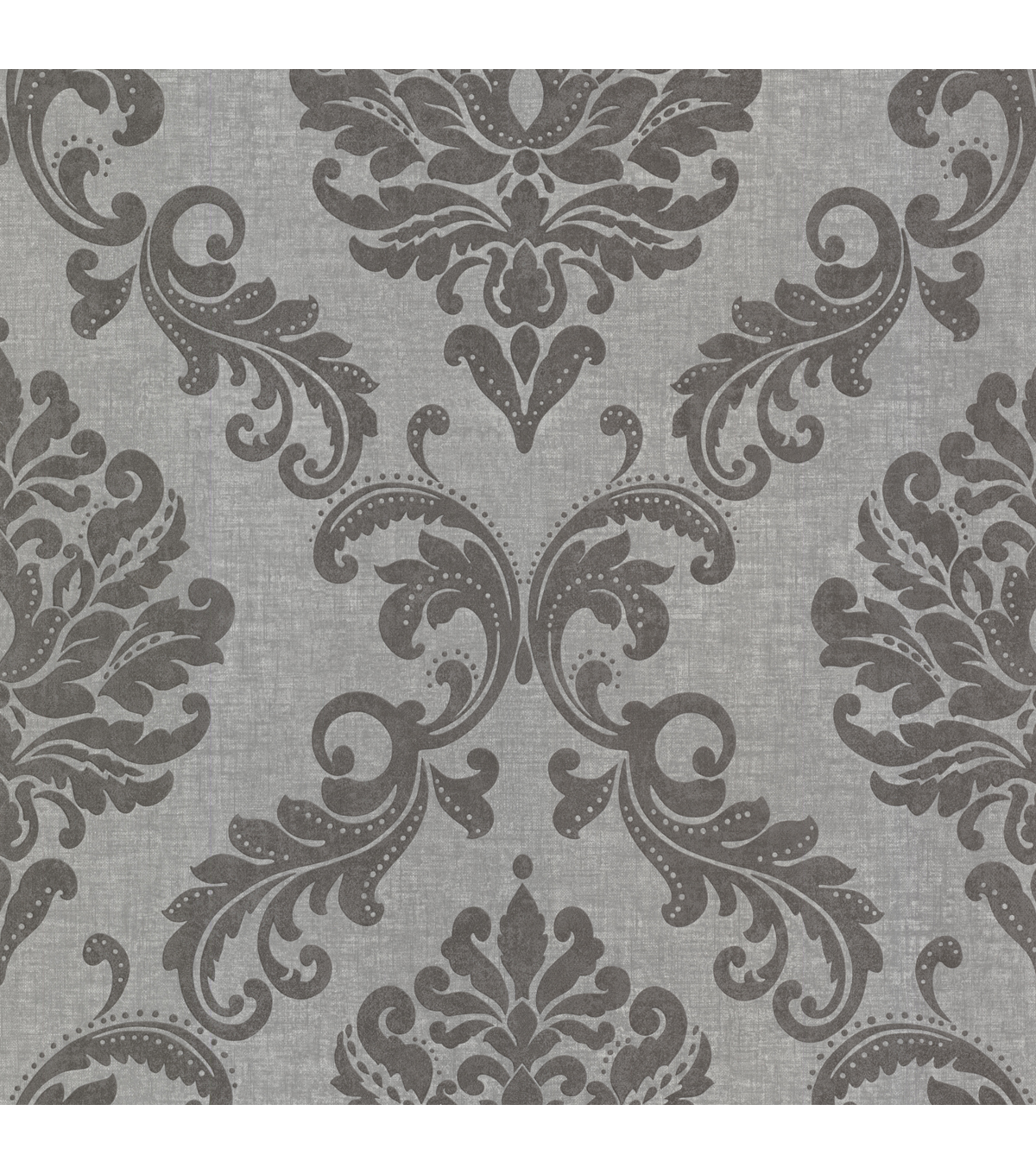 Sebastion Grey Damask Wallpaper Sample