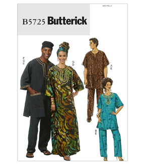 Butterick Pattern B5725-Misses'/Men's Tunic, Caftan, Pants, Hat and Head Wrap