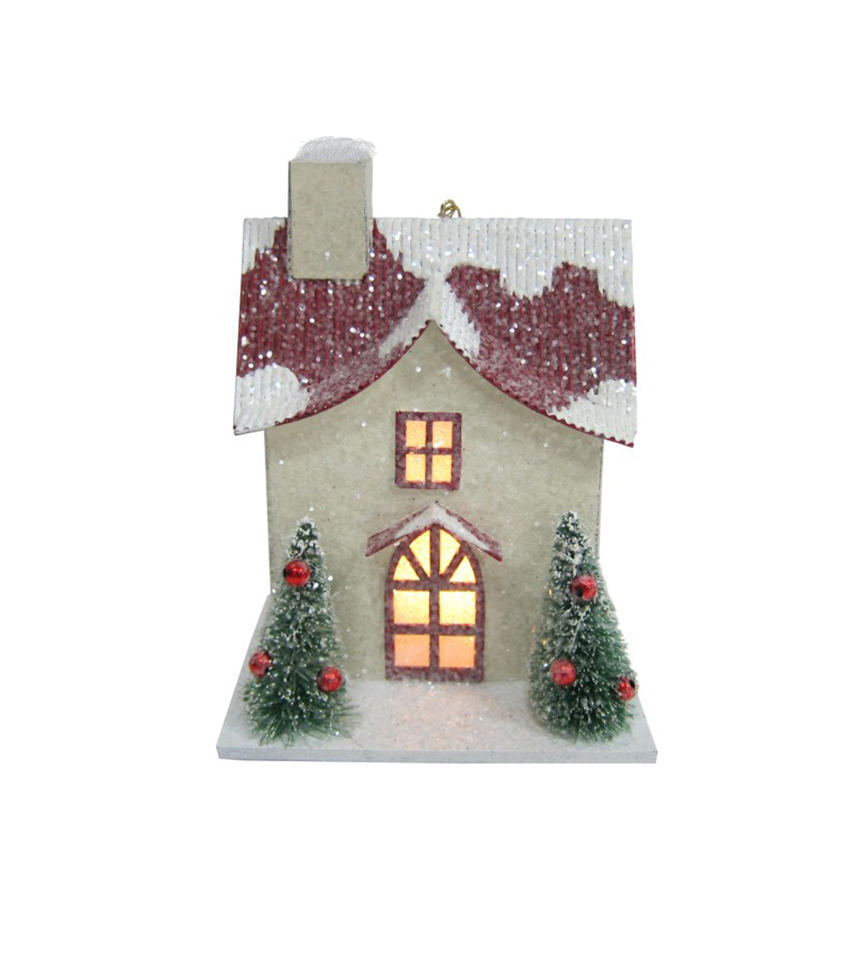 Maker\u0027s Holiday Christmas Cream House with Red Roof Ornament