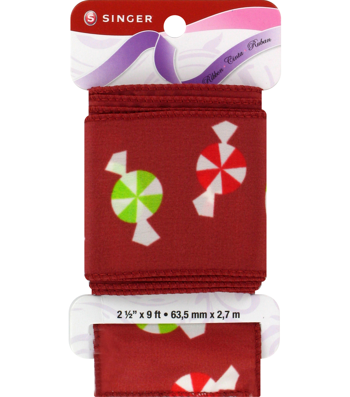 Singer Peppermints Satin Ribbon - 2 1/2\u0022 x 9ft.