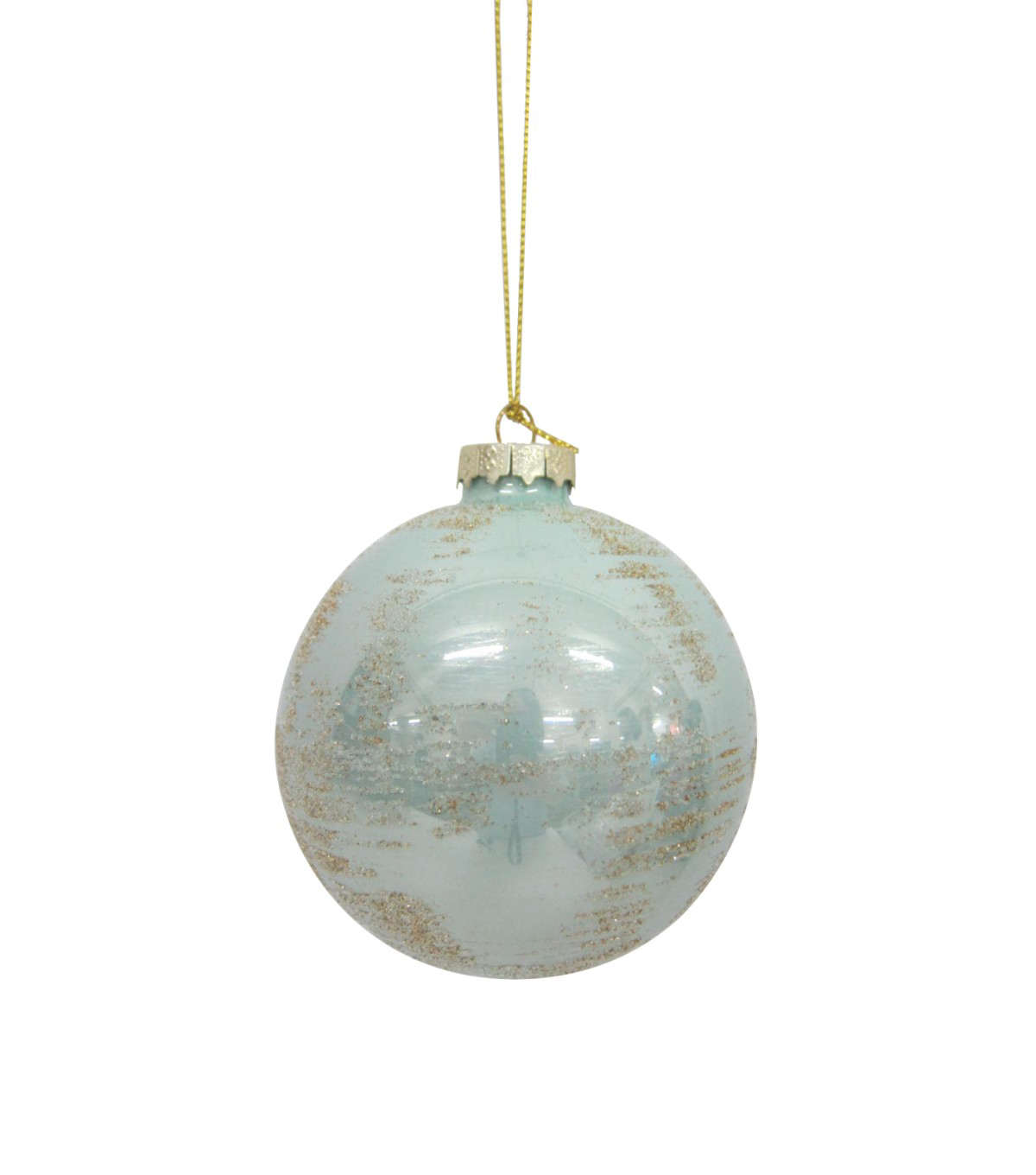 Maker\u0027s Holiday Christmas Holiday Charm Globe Ornament-Blue & Gold