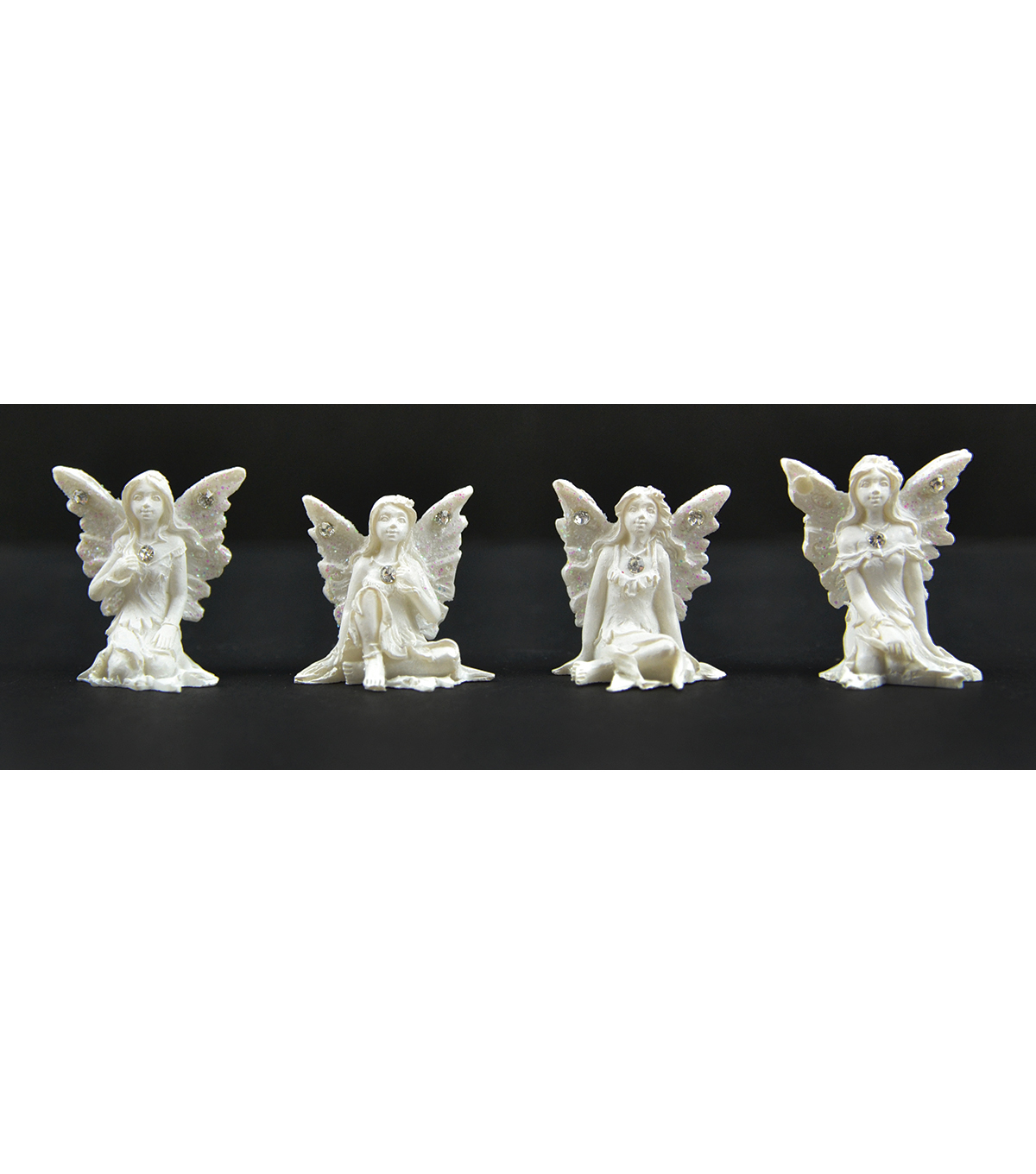 "Midwest Design Imports™ 12pcs 1"" Sitting Fairies-White Shimmer"