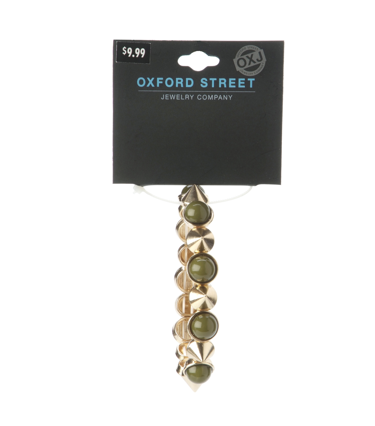 Oxford Street Jewelry Co. Olive Green Bracelet w/Gold Plated Spikes