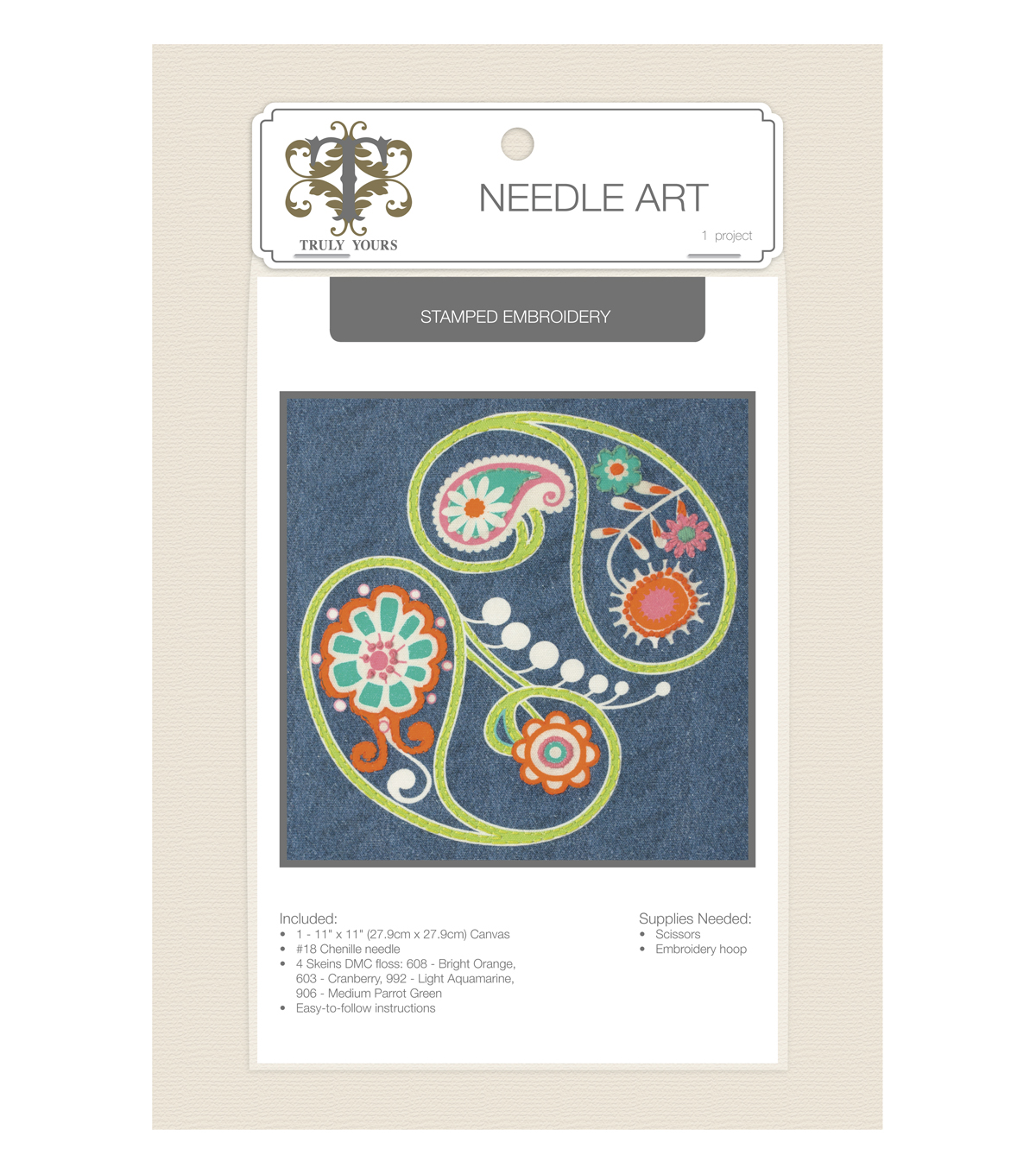 Truly Yours™ Needle Art Stamped Embroidery Kit- Paisley