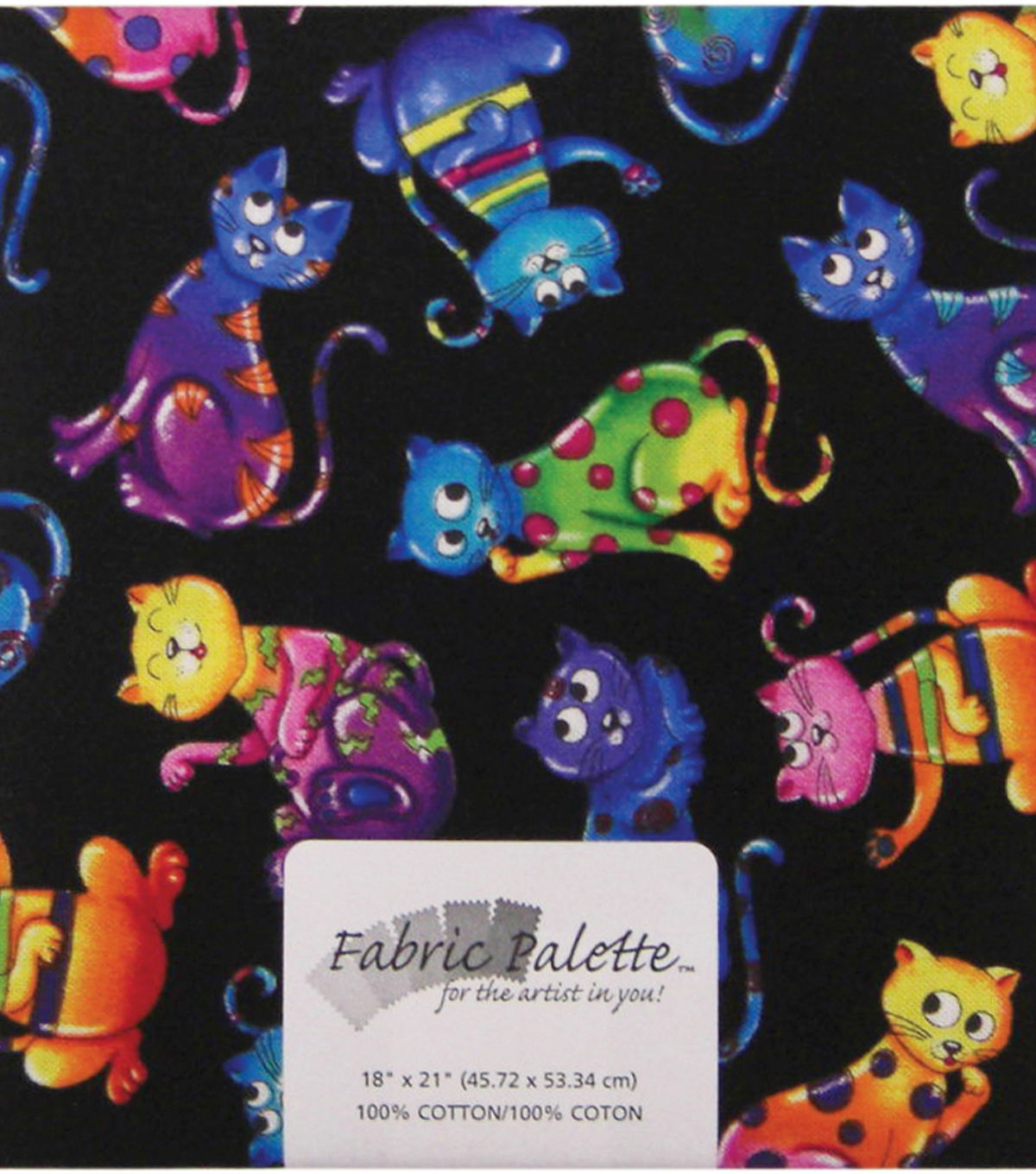 Fabric Palette 1/4yd Pre-cut Cotton Fabric-Colorful Cats Black